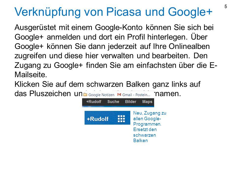 Verknüpfung von Picasa und Google+