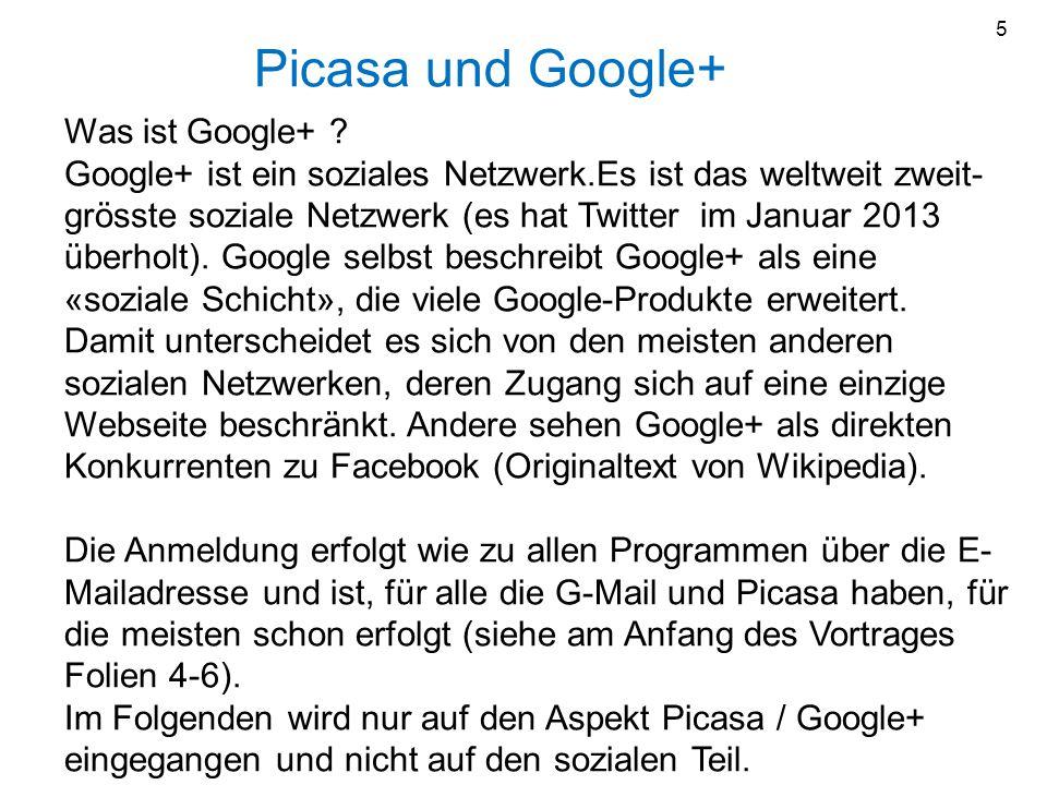 5 Picasa und Google+