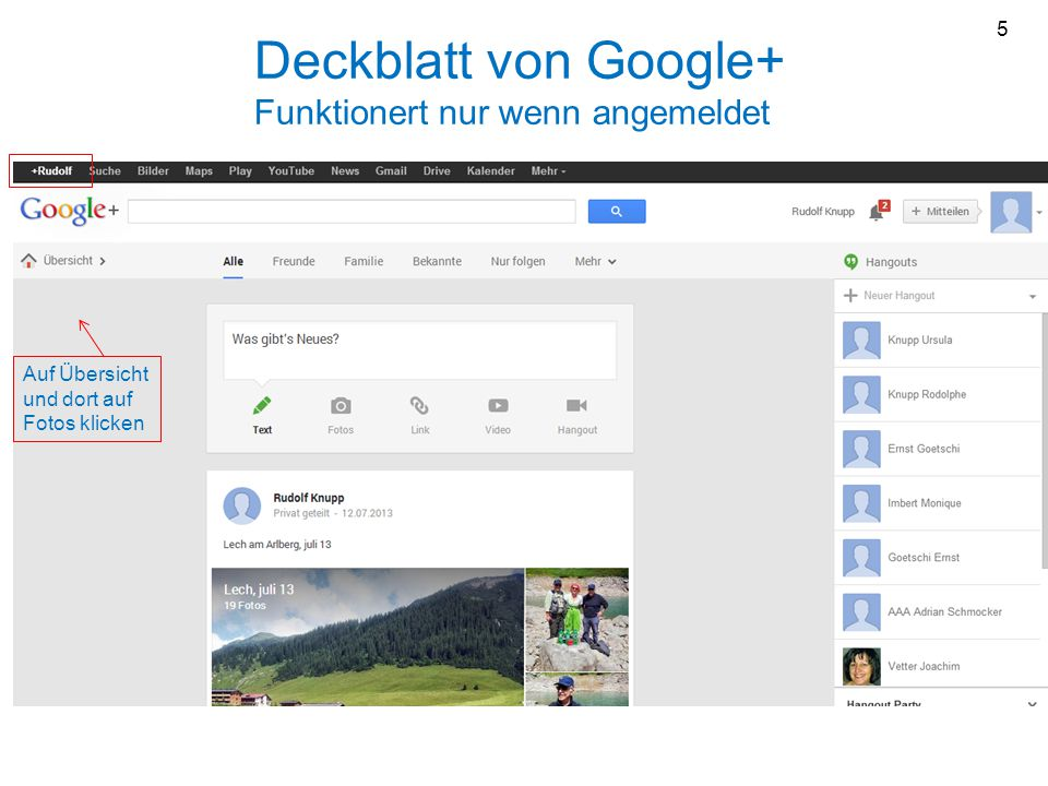 Deckblatt von Google+ Funktionert nur wenn angemeldet