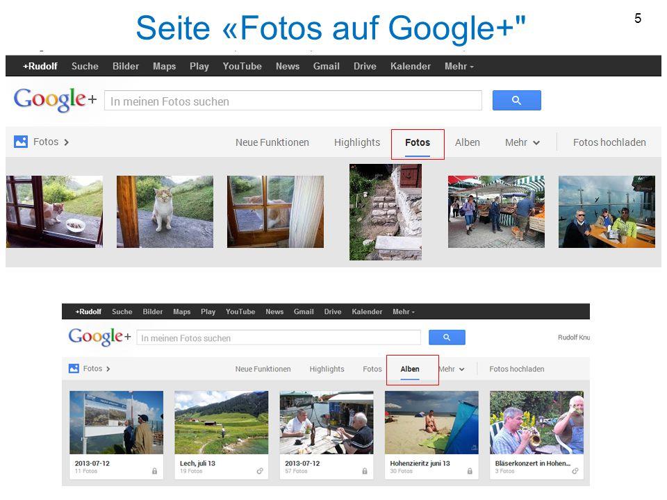 Seite «Fotos auf Google+