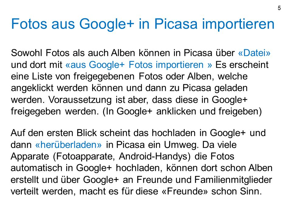 Fotos aus Google+ in Picasa importieren