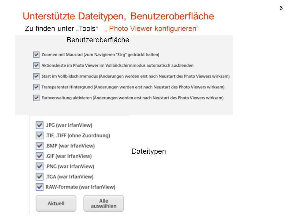 Unterstützte Dateitypen, Benutzeroberfläche