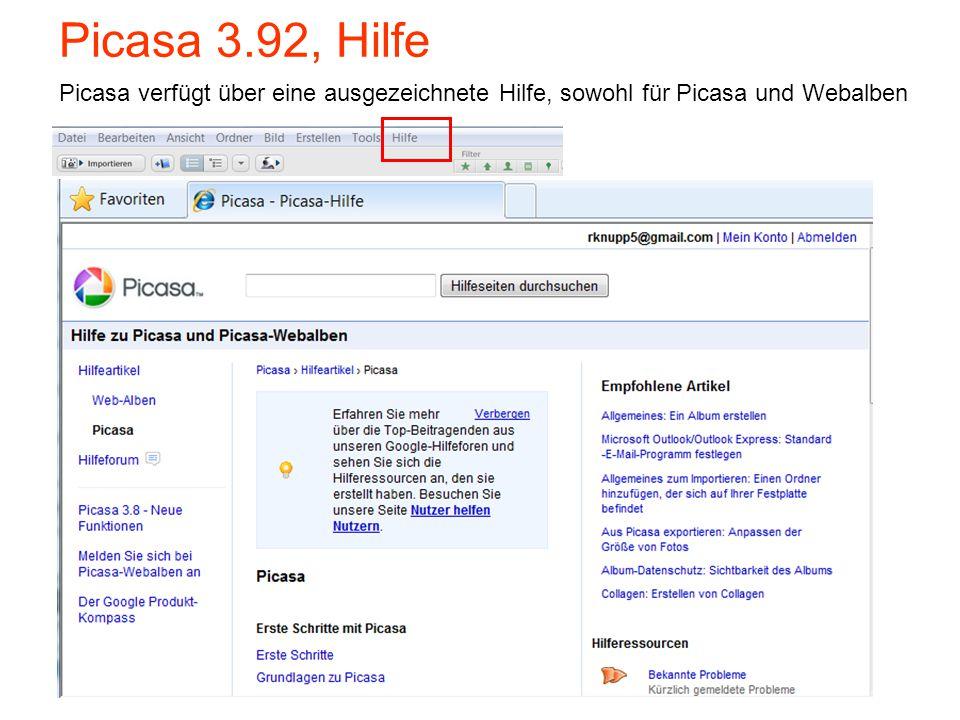 Picasa 3.92, Hilfe Picasa verfügt über eine ausgezeichnete Hilfe, sowohl für Picasa und Webalben 32