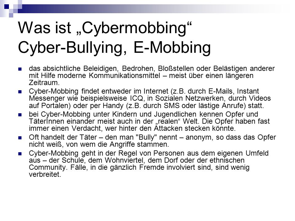 "Was ist ""Cybermobbing Cyber-Bullying, E-Mobbing"