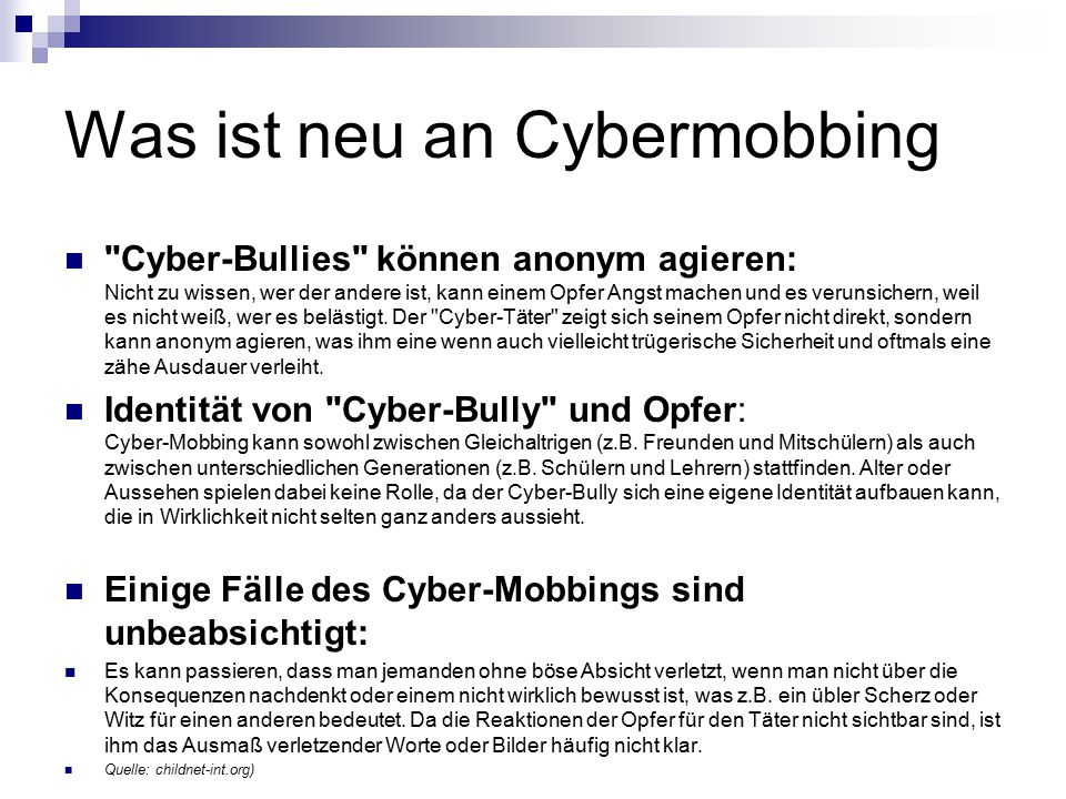 Was ist neu an Cybermobbing