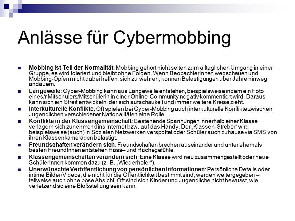 Anlässe für Cybermobbing