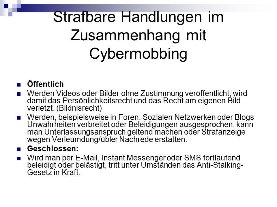 Strafbare Handlungen im Zusammenhang mit Cybermobbing