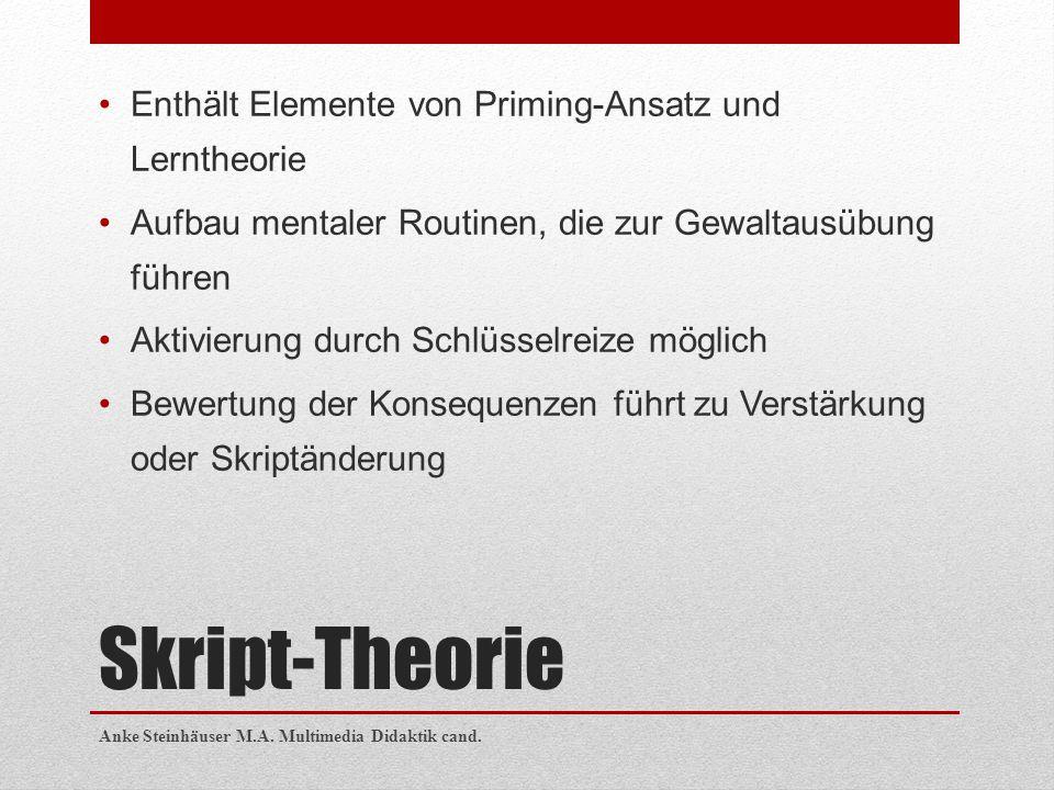 Skript-Theorie Enthält Elemente von Priming-Ansatz und Lerntheorie