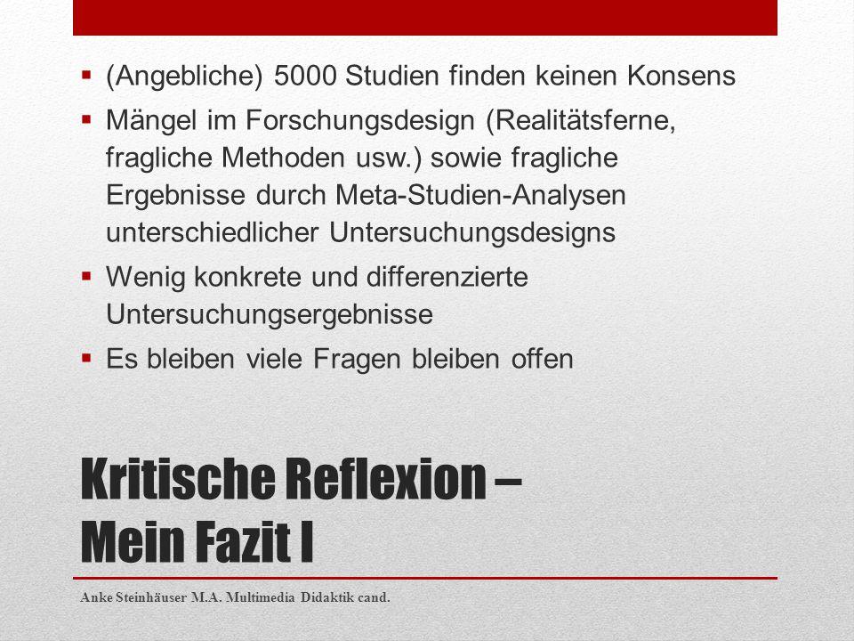 Kritische Reflexion – Mein Fazit I