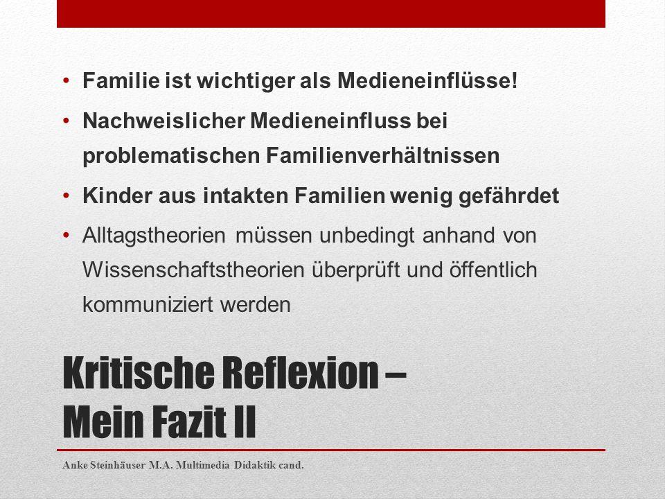Kritische Reflexion – Mein Fazit II