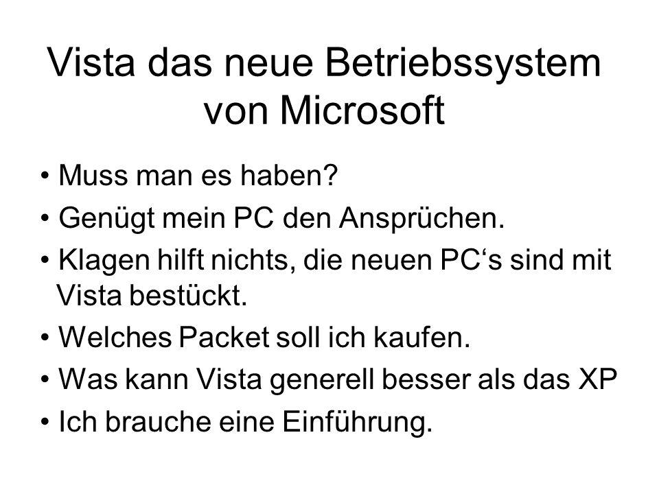 Vista das neue Betriebssystem von Microsoft