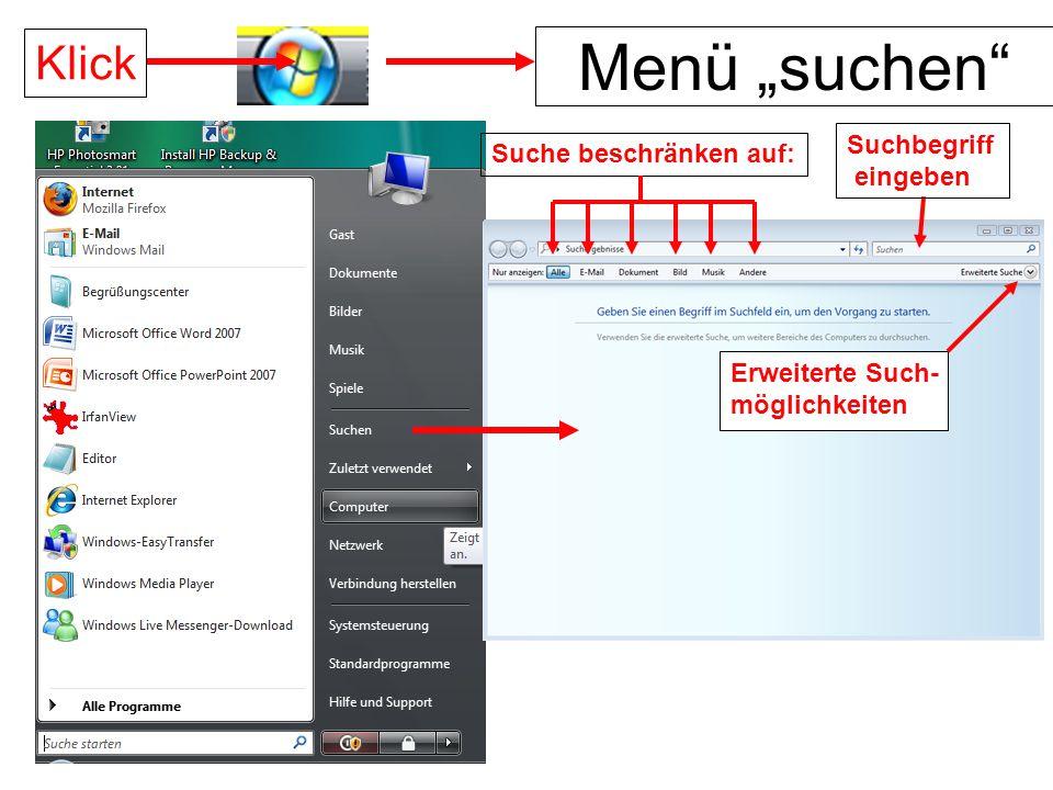 """Menü """"suchen Klick Suchbegriff eingeben Suche beschränken auf:"""