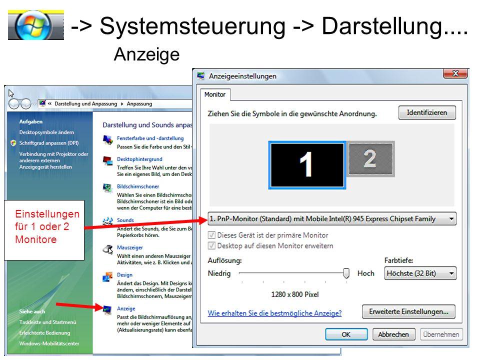 -> Systemsteuerung -> Darstellung....