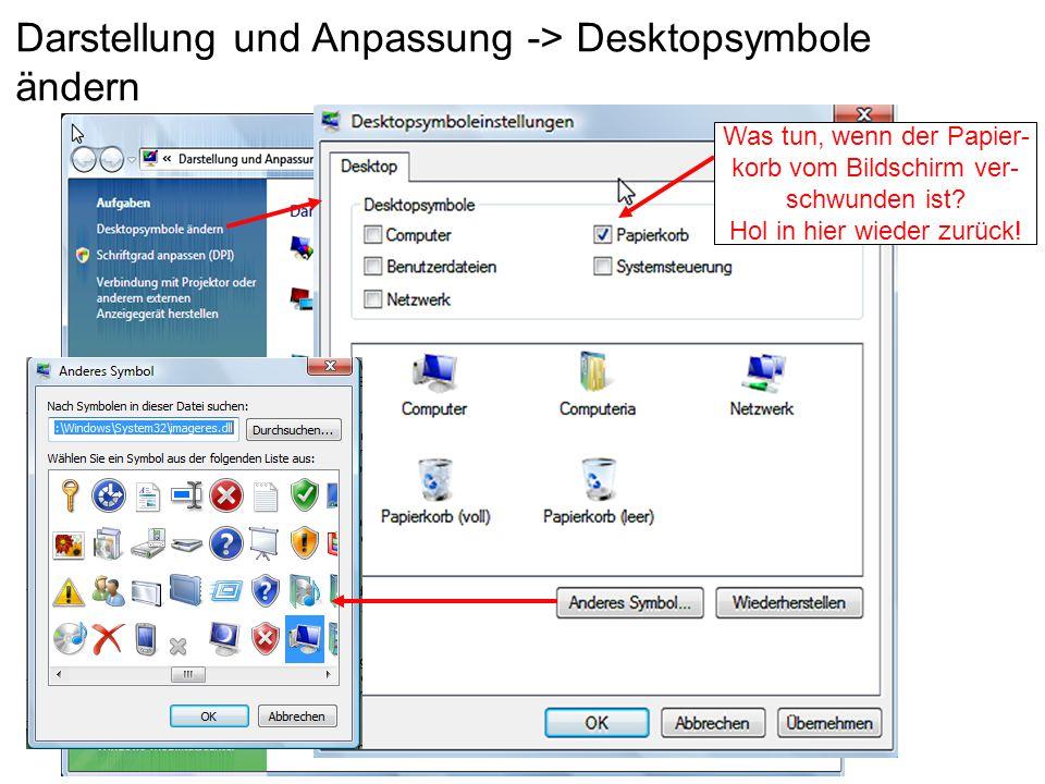 Darstellung und Anpassung -> Desktopsymbole ändern