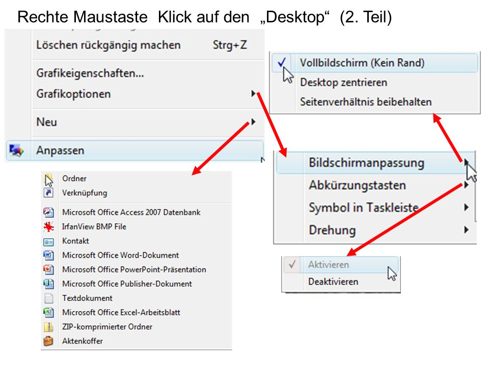 """Rechte Maustaste Klick auf den """"Desktop (2. Teil)"""