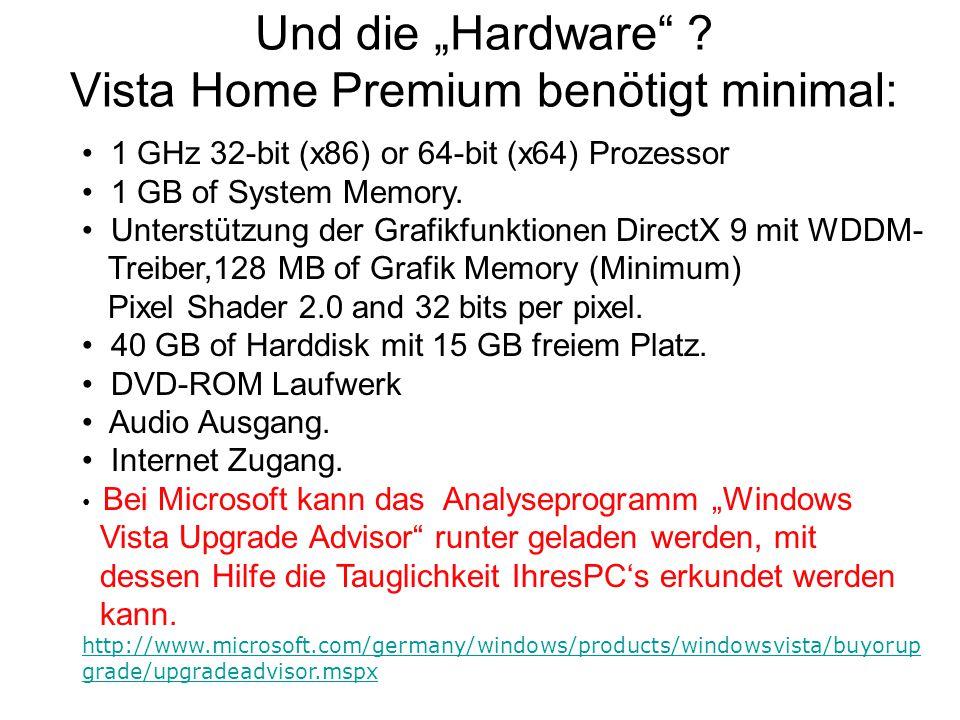 """Und die """"Hardware Vista Home Premium benötigt minimal:"""