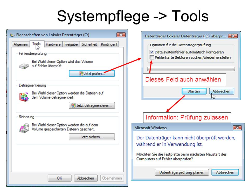 Systempflege -> Tools