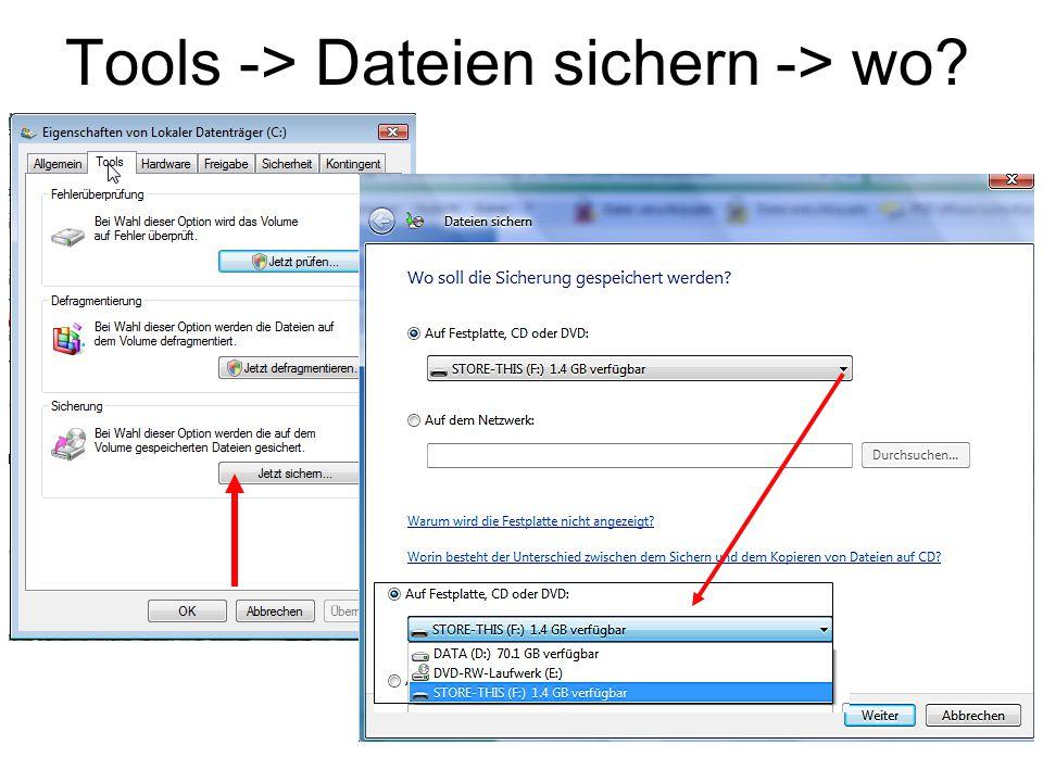 Tools -> Dateien sichern -> wo