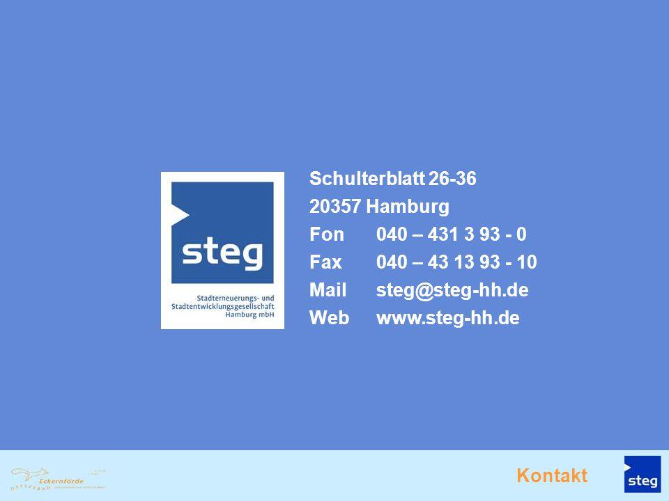 Schulterblatt 26-36 20357 Hamburg. Fon 040 – 431 3 93 - 0. Fax 040 – 43 13 93 - 10. Mail steg@steg-hh.de.