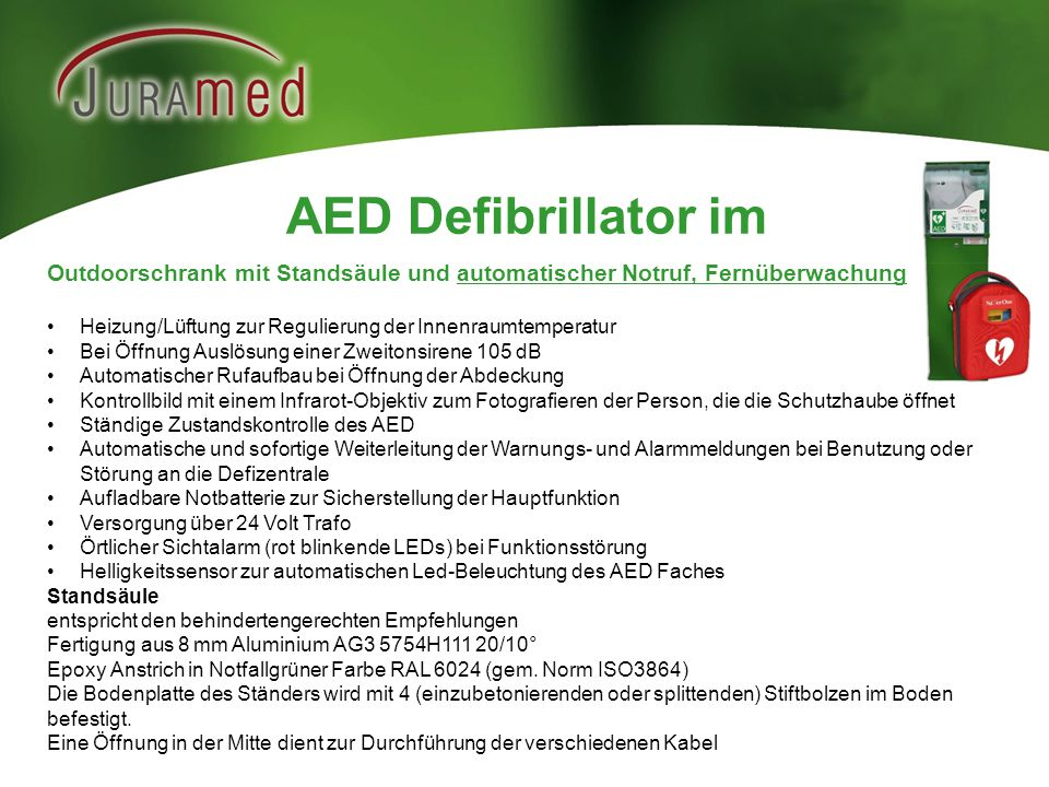 AED Defibrillator im Outdoorschrank mit Standsäule und automatischer Notruf, Fernüberwachung.