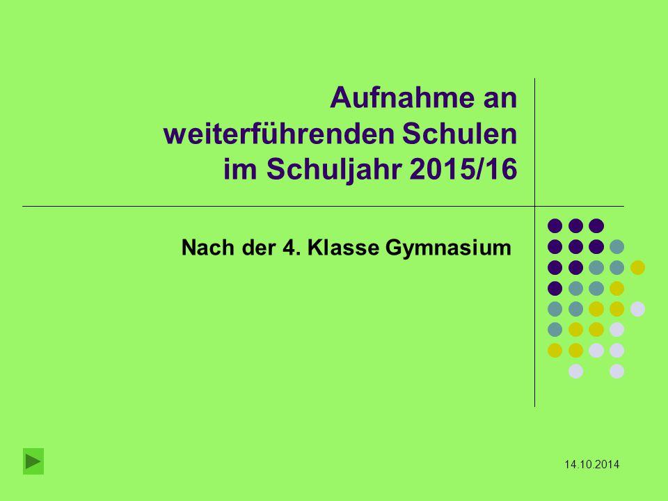 Aufnahme an weiterführenden Schulen im Schuljahr 2015/16