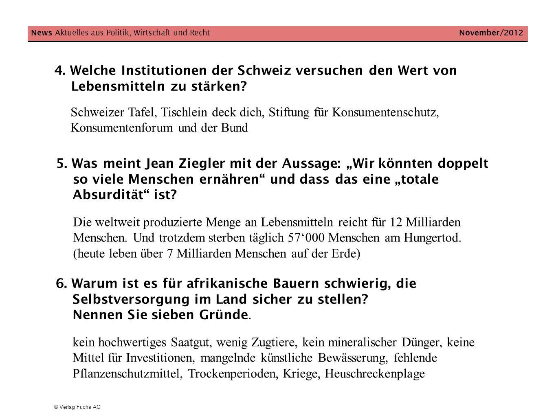 4. Welche Institutionen der Schweiz versuchen den Wert von