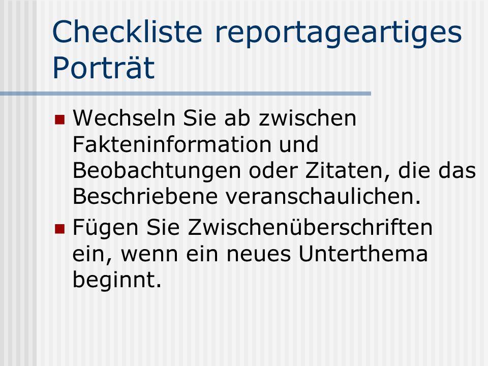 Checkliste reportageartiges Porträt