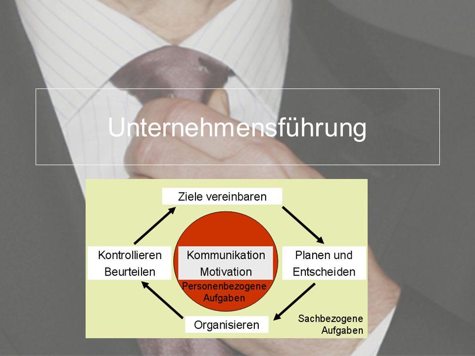 Unternehmensführung Unternehmensführung = Management