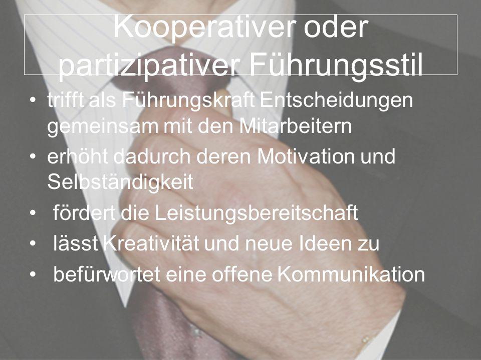 Kooperativer oder partizipativer Führungsstil