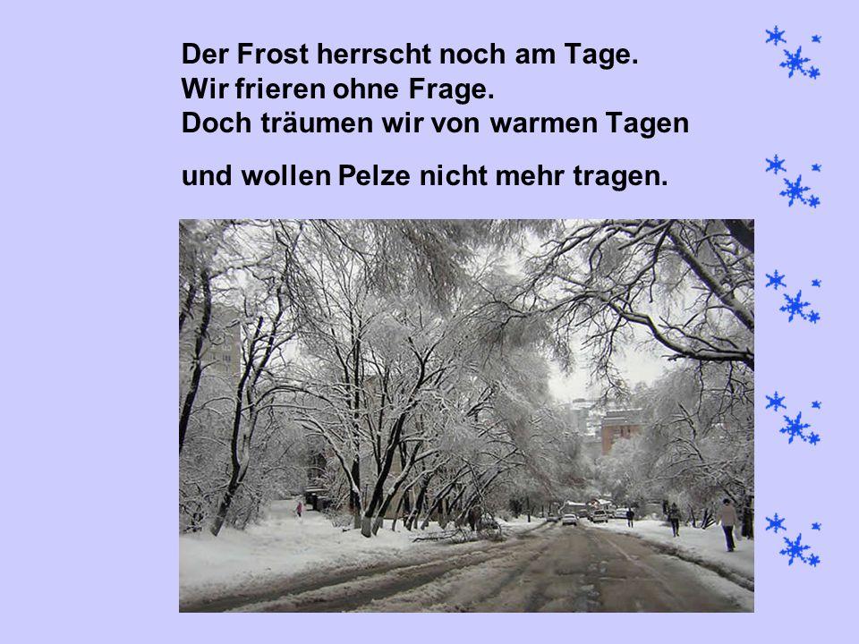 Der Frost herrscht noch am Tage. Wir frieren ohne Frage