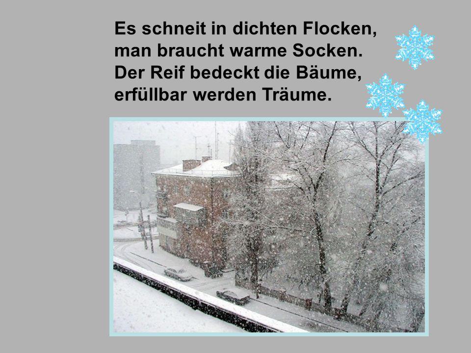 Es schneit in dichten Flocken,