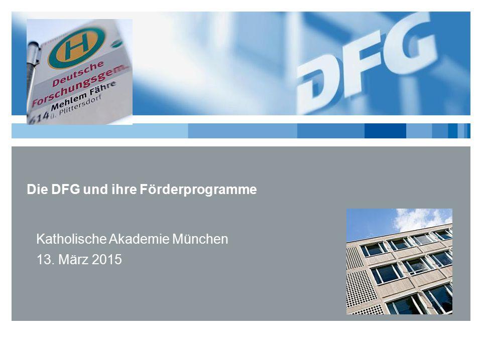 Die DFG und ihre Förderprogramme