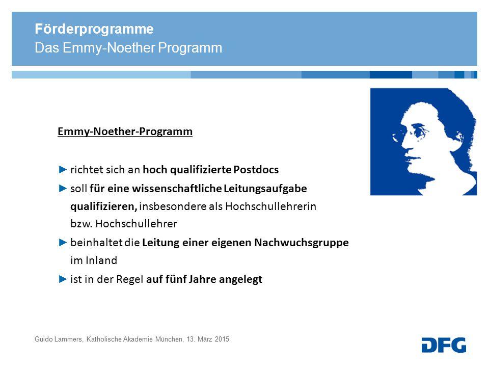 Das Emmy-Noether Programm