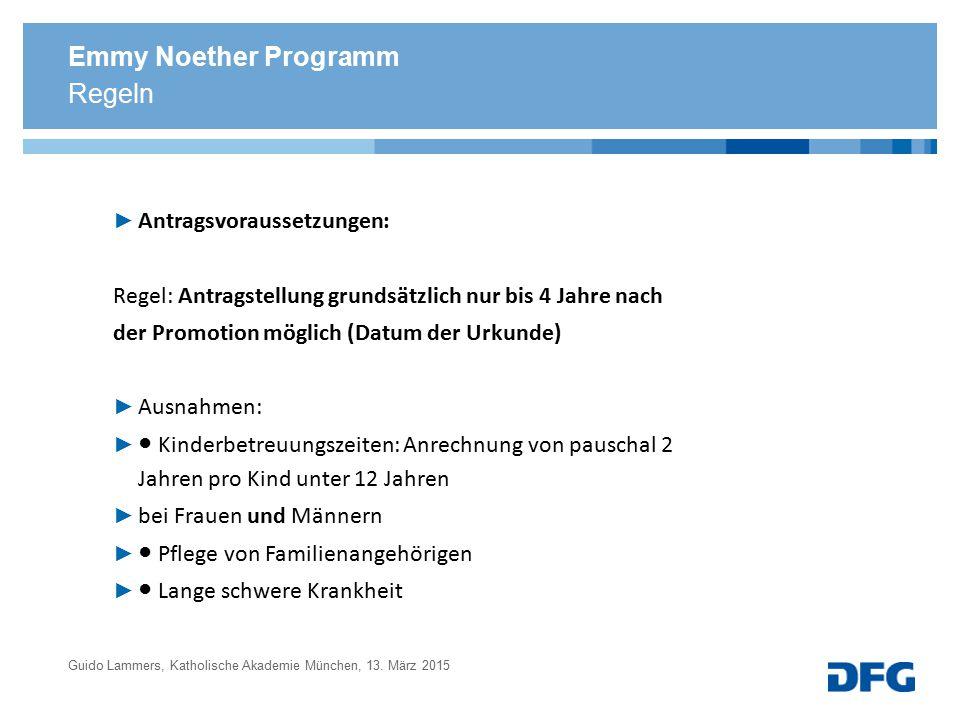Emmy Noether Programm Regeln Antragsvoraussetzungen: