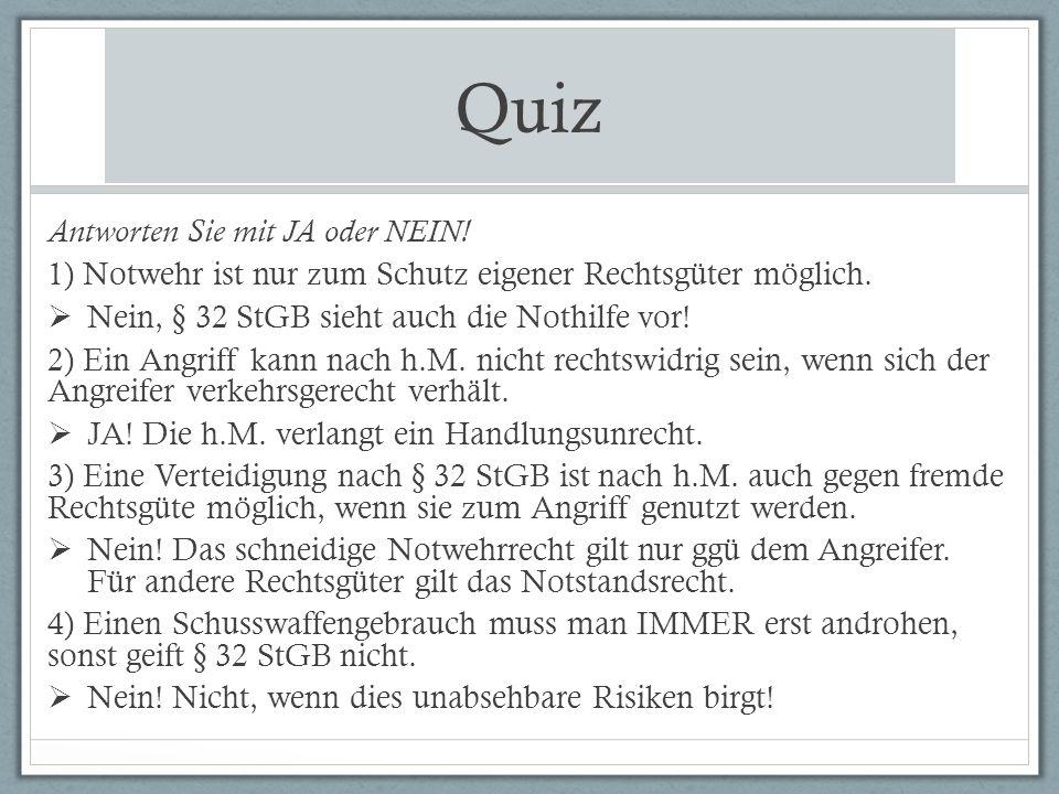 Quiz Antworten Sie mit JA oder NEIN!