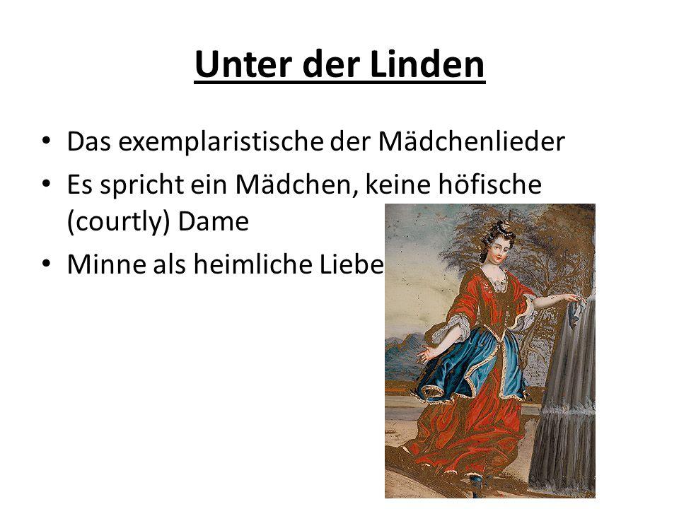 Unter der Linden Das exemplaristische der Mädchenlieder