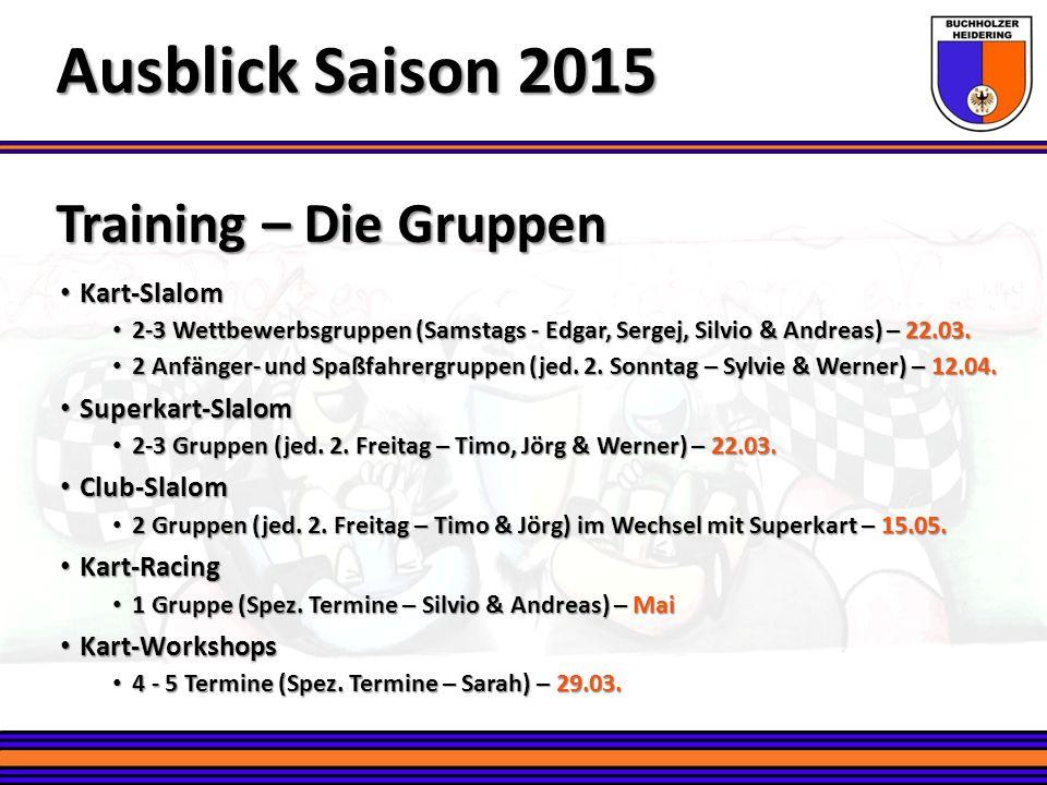 Ausblick Saison 2015 Training – Die Gruppen Kart-Slalom
