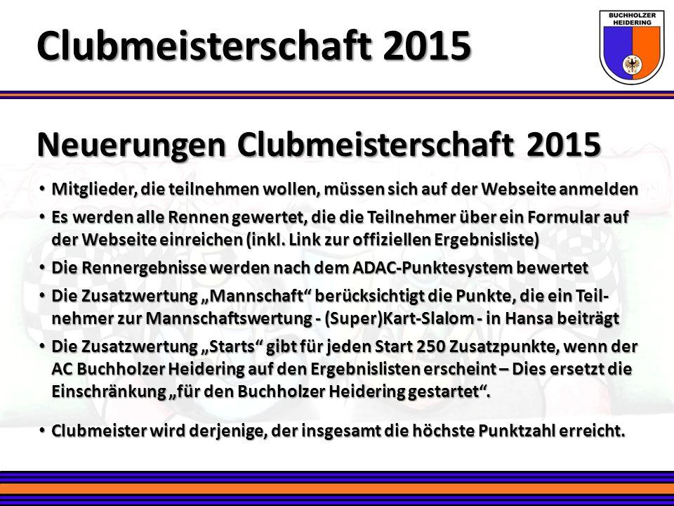 Clubmeisterschaft 2015 Neuerungen Clubmeisterschaft 2015