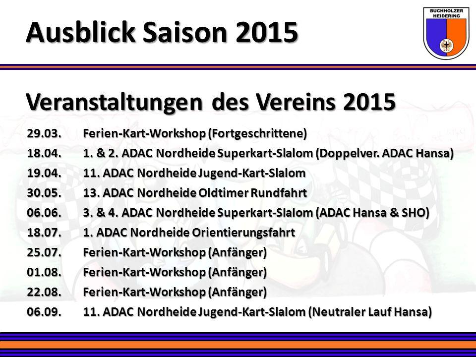 Ausblick Saison 2015 Veranstaltungen des Vereins 2015
