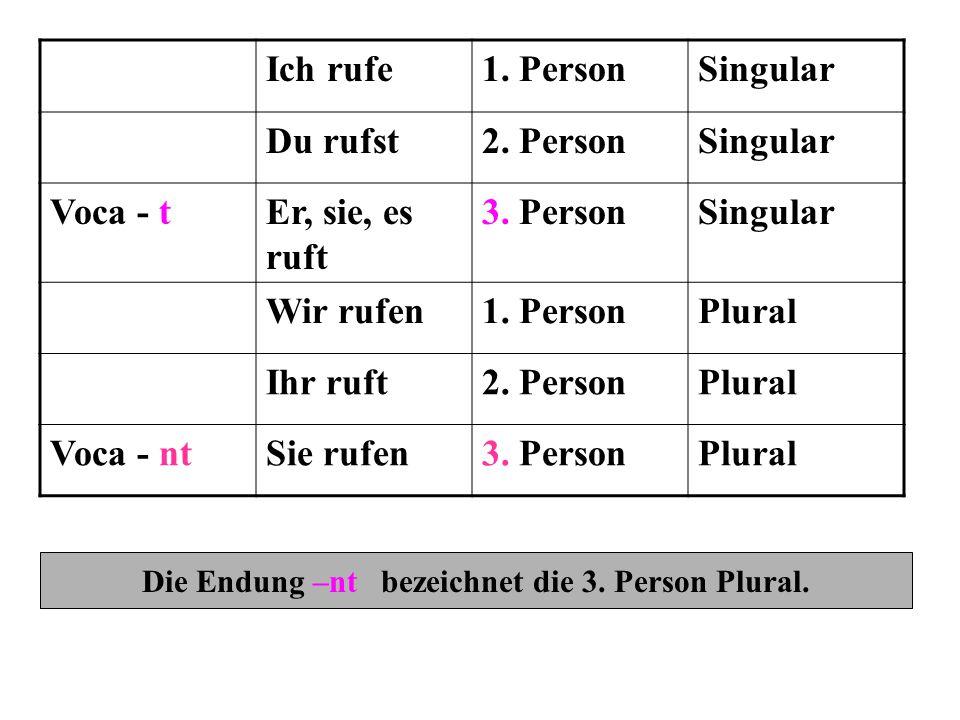 Die Endung –nt bezeichnet die 3. Person Plural.