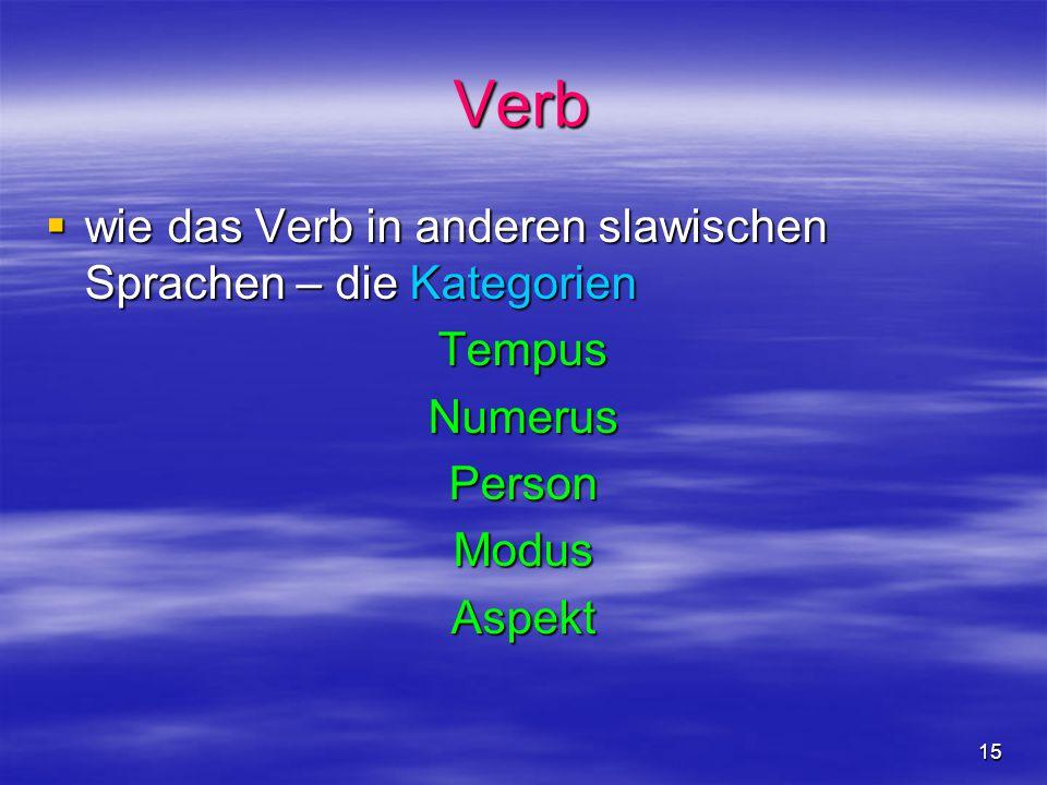 Verb wie das Verb in anderen slawischen Sprachen – die Kategorien