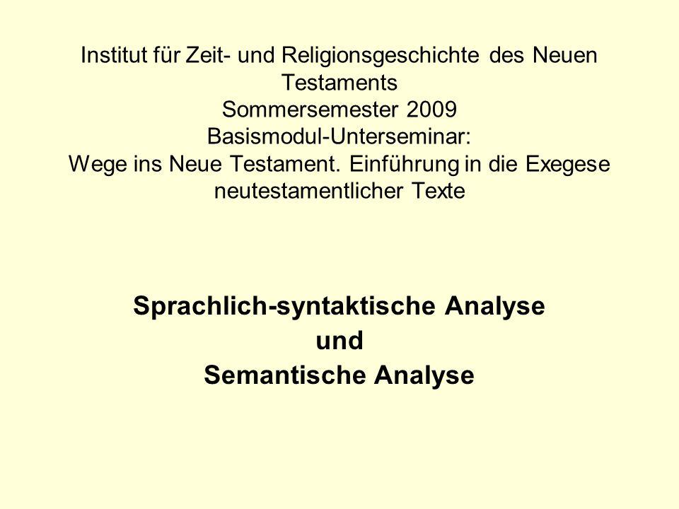 Sprachlich-syntaktische Analyse und Semantische Analyse