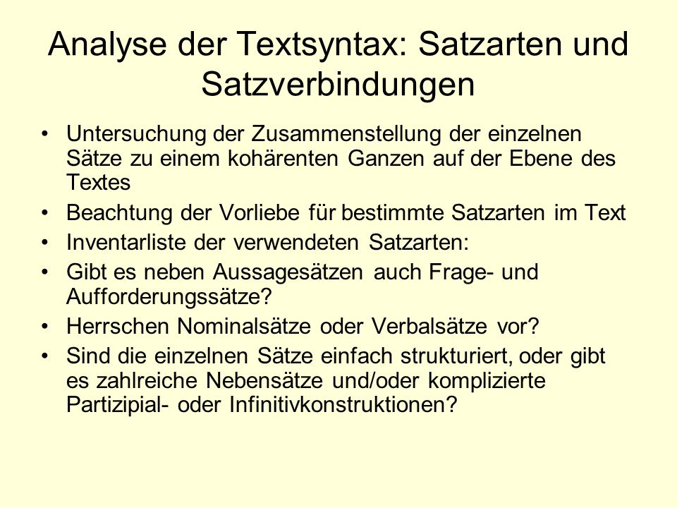 Analyse der Textsyntax: Satzarten und Satzverbindungen