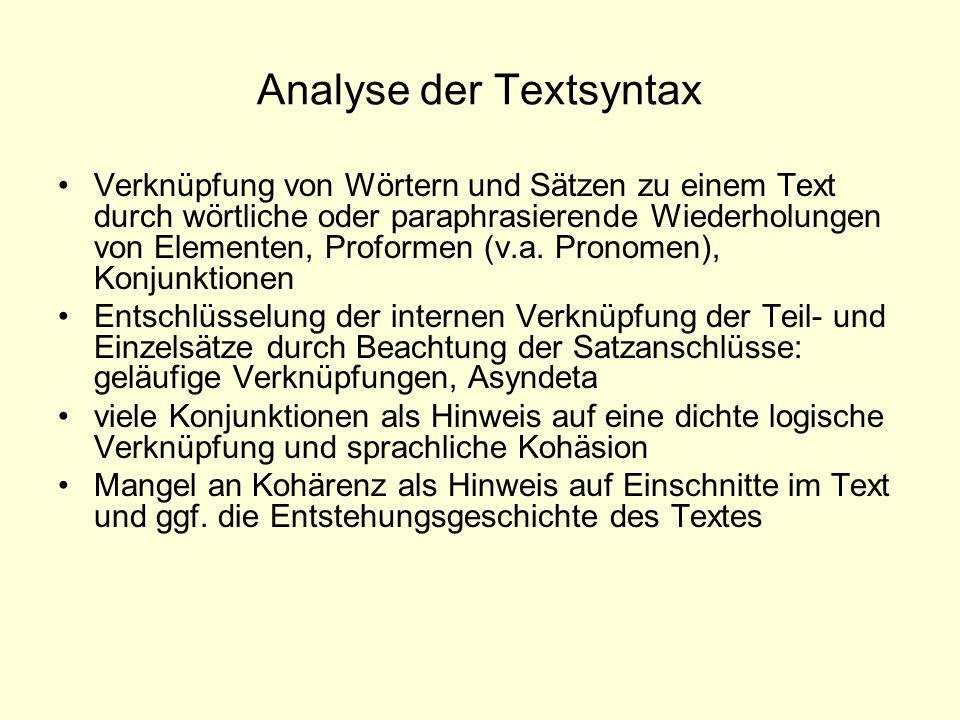 Analyse der Textsyntax