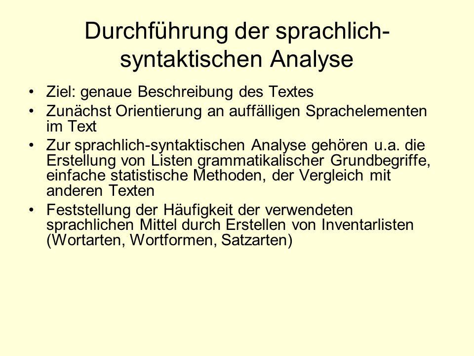 Durchführung der sprachlich-syntaktischen Analyse