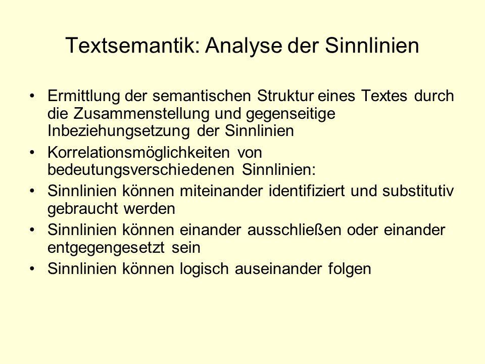Textsemantik: Analyse der Sinnlinien