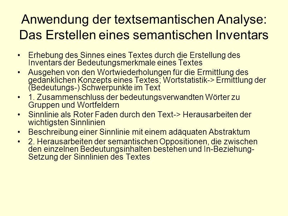 Anwendung der textsemantischen Analyse: Das Erstellen eines semantischen Inventars