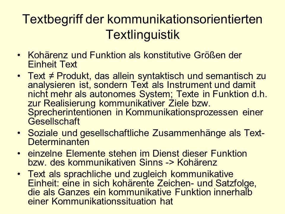 Textbegriff der kommunikationsorientierten Textlinguistik