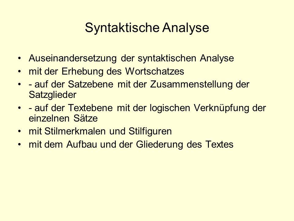 Syntaktische Analyse Auseinandersetzung der syntaktischen Analyse