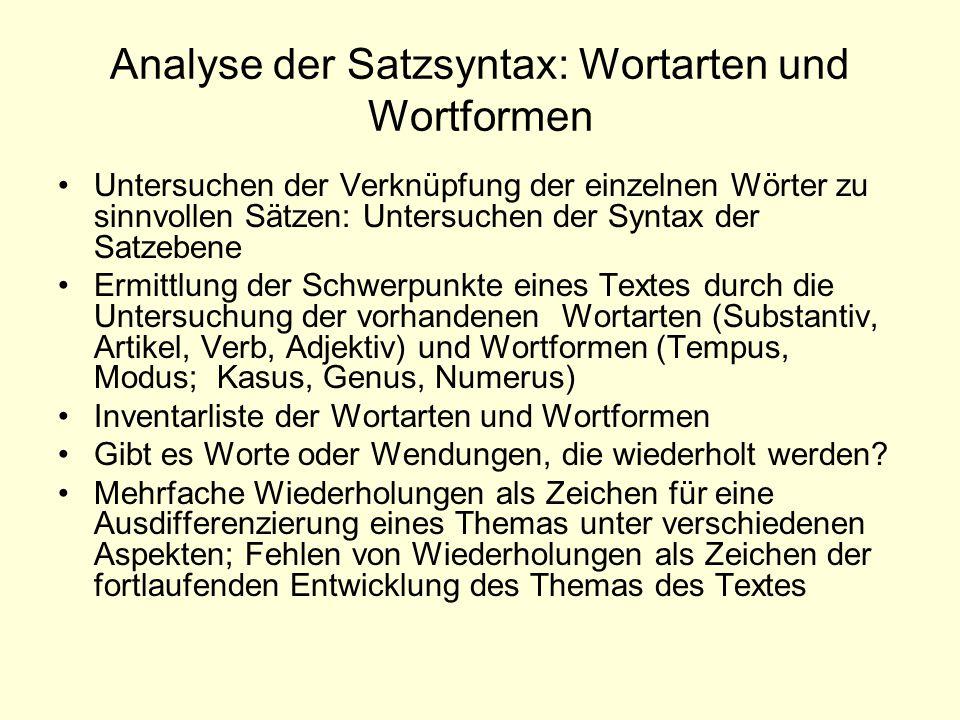 Analyse der Satzsyntax: Wortarten und Wortformen